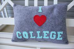 12x16 I Love College Pillow Cover by KelsCozyCorner on Etsy, $35.00