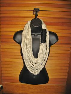 Infinity Chain Scarf  Off White and Black by TheLittleBarntique, $14.95