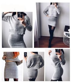 winter knitted women's suit two piece skirt set women clothes ropa mujer conjunto feminino conjuntos de mujer vetement femme-in Women's Sets from Women's Clothing on AliExpress Suits For Women, Clothes For Women, Trendy Fashion, Fashion Outfits, Dress Suits, Looking Gorgeous, Beautiful, Cheap Dresses, Well Dressed