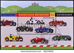 stock photo : GERMANY - CIRCA 2009: A stamp printed in Germany shows vintage car race, circa 2009