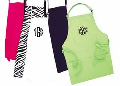 Monogrammed Solid Color Aprons   Southern Glam Monogram