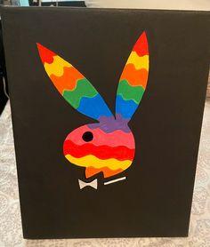 Playboy bunny painting on Mercari Small Canvas Paintings, Easy Canvas Art, Small Canvas Art, Cute Paintings, Mini Canvas Art, Diy Canvas, Hippie Kunst, Hippie Art, Hippie Painting