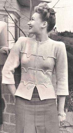 1940's Vintage Jacket ... PDF Knitting  par ChicVintagePatterns