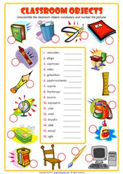 Classroom Objects Unscramble the Words ESL Quiz for Kids