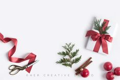 Holiday Flatlay with Gift Trimmings Graphics This Christmas styled stock photograph features the wrapping supplies and festive gift with a red ri by Her Creative Studio Christmas Flatlay, Christmas Fashion, Christmas Decorations, Holiday Gifts, Holiday Ideas, Merry Christmas, Holiday Market, Christmas Photography, Montages