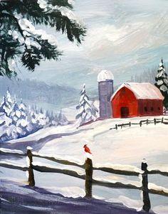 Paint Party Sat. Jan 2nd, Red Barn Wonderland, Hosted By BeckerArt - The Studio Art School