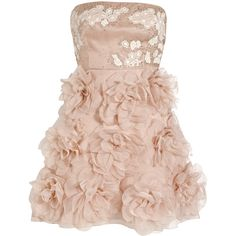 Valentino Embellished silk strapless dress (£1,760) ❤ liked on Polyvore featuring dresses, vestidos, vestiti, valentino, baby pink, pink rose dresses, silk dress, pink floral dress, fitted dresses and strapless floral dress