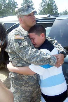 heartbreaking...I don't know this kid, but I'm so glad to see him huggin' his daddy
