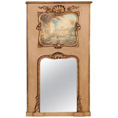 French Louis XV Trumeau Mirror   From a unique collection of antique and modern trumeau mirrors at https://www.1stdibs.com/furniture/mirrors/trumeau-mirrors/