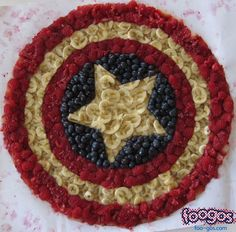 Comic book logos made from food.  Captain America