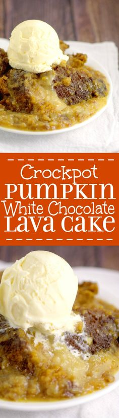 Crockpot Pumpkin White Chocolate Lava Cake is a decadent slow cooker dessert recipe with moist Pumpkin Spice cake and smooth, hot white chocolate filling. Pumpkin spice and white chocolate?! Must try!
