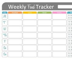 Weekly Food Tracker - Printable for Health and Fitness - INSTANT DOWNLOAD