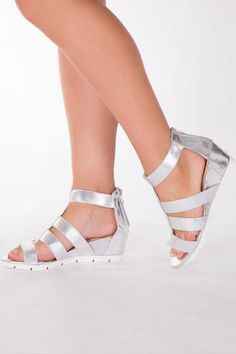 Strappy Silver Metalic Sandals from LUSTY CHIC