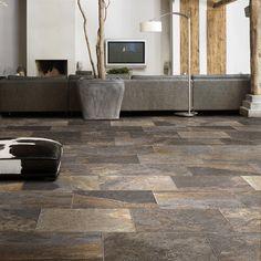 Mountain Log home slate floors always work.