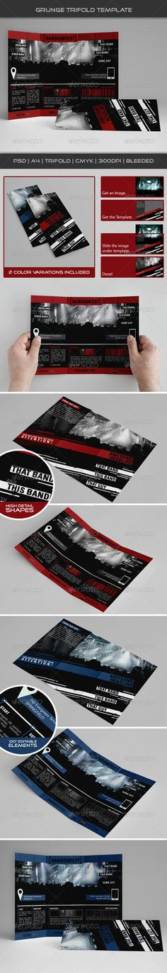 Grunge Trifold Template 05  #GraphicRiver         Grunge Trifold Template is designed for a festival promotion or any other type of musical gathering,