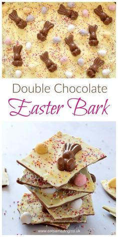 Quick and easy double chocolate Easter bark - fun and easy recipe for kids - great for homemade gifts - Eats Amazing UK recipes dessert recipes dessert brunch recipes dessert cake recipes dessert easy recipes dessert kids recipes dessert video Easter Candy, Easter Treats, Easter Cake Easy, Easter Eggs, Easter Food, Easter Cake Gifts, Cakes For Easter, Easter Bunny Cake, Easter Gifts For Kids
