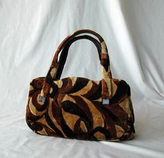 Brown, Gold, Tan Garay Handbag Chenille Purse 1960-1970. $30.00, via Etsy.