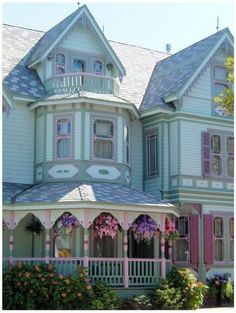 painted lady, love the hanging baskets::