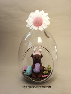 Easter Dog sitting in a nest of eggs little Border terrier Doggy Bunny inside glass bauble Unique Handmade Ornament unusual OOAK gift by MomapawsHomecraft on Etsy