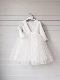Flower girl dress Long sleeve flower girl dress Burgundy   Etsy White Tulle Dress, Girls White Dress, Dress With Bow, White Girls, Girls Dresses, Simple Flower Girl Dresses, Flower Girl Tutu, Flower Girls, Winter Flower Girl