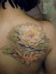 Koi tattoo, pond tattoo, water, stream, lilly pad tattoo, nature