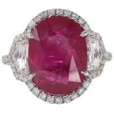 Incredible Eight Carat Certified Ruby and Diamond Set in Platinum | $82,000