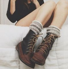Brown leather boots with wool socks