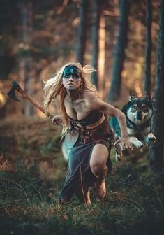Hot chick with a flying dog. - Hot chick with a flying dog. Viking Warrior Woman, Warrior Girl, Warrior Princess, Fantasy Warrior, Fantasy Women, Fantasy Girl, Fantasy Characters, Female Characters, Medieval Combat