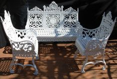 A Cast Iron Garden set made in Brooklyn NY circa 1880 consisting of a bench, & pair of armchairs, identical benches to this one are in the Brooklyn Museum & Metropolitan Museum of Art, all the pieces are signed and dated, the set is still wrapped in t Wrought Iron Garden Furniture, Iron Patio Furniture, Wrought Iron Patio Chairs, Victorian Furniture, Metal Chairs, Furniture Vintage, Wicker Furniture, Outdoor Furniture, Patio Furniture For Sale