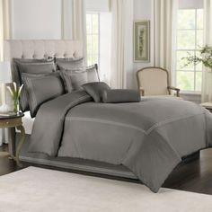 Wamsutta® Baratta Stitch Comforter Set in Grey - BedBathandBeyond.com $130 twin / $180 king