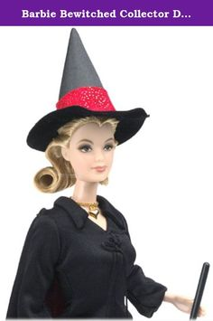 Barbie Bewitched Collector Doll Samantha. Fans of the classic television show Bewitched will adore this delightful doll! Wearing a reproduction of the ensemble Samantha wore during the show's animated opening, Barbie doll captures the wacky and wonderful spirit of this beloved television character. In a black dress that laces up the front, a black cape lined in glittering red, and black high heels, Barbie is truly bewitching. Charming finishing touches include a black witch's hat with a...