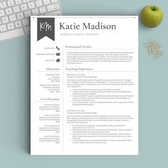 Teacher Resume Template for Word & Pages (1-3 Page Resume for ...