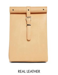 Image 1 of Chloe Stanyon Roll Top Leather Backpack in Natural
