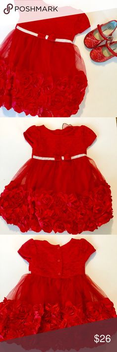 NWT Red Rose & Lace Toddler Girl's Dress NWT Red Rose & Lace Toddler Girl's Dress  •Brand new with tags!  •Nannette Baby 2 Piece Dress with Diaper Cover/Bloomers  •Size: 24 Months Nannette Baby Dresses Formal