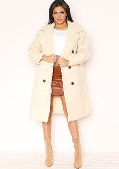 8071be3458c Missyempire - Steph Cream Borg Teddy Coat Shearling Coat
