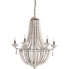 Hundreds of whitewashed wooden balls are used to create this oversized, grand chandelier by Mercana.  31 x 29 x 76