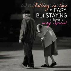 Falling in love is easy but staying in love is very special