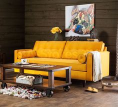 Furniture of America Kalinda Modern Mid-Century Sunshine Gold Sofa (Sunshine Gold) (Fabric) Sofa And Loveseat Set, Upholstered Sofa, Sofa Upholstery, Home Furniture, Outdoor Furniture Sets, Furniture Outlet, Online Furniture, Gold Sofa, Yellow Sofa