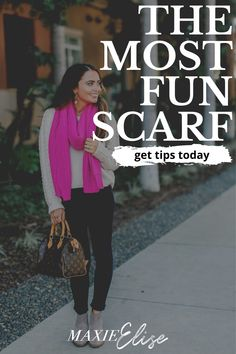 Click right here to see this cute fall scarf on Maxie Elise Blog! Pink scarf outfit winter classy. Super cute fall outfits outdoor casual and fall scarf outfit jeans. Most stylish pink scarf outfit winter work. Super cute fuchsia scarf outfit casual. Best hot pink scarf outfit winter. Fashionable jeans and scarf outfit fall. Stylish fall cozy outfits for women casual. Learn about fall sweater staples capsule wardrobe. #scarf #fall #falloutfit
