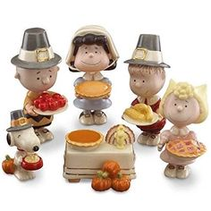 Lenox Thanksgiving Dinner Party Charlie Brown Snoopy 6 Pc Figure Box Pilgrim Set
