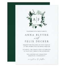 Shop Wild Forest Monogram Wedding Invitation created by RedwoodAndVine. Personalize it with photos & text or purchase as is! Forest Wedding Invitations, Monogram Wedding Invitations, Wedding Invitation Cards, Zazzle Invitations, Shower Invitations, Wedding Stationery, Square Wreath, Wild Forest, Monogram Wreath