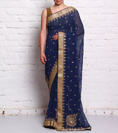 Blue Embroidered Georgette Saree #ethnicwear #saree #embroidered #georgette #sequined #summer #indianroots