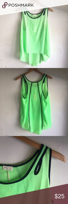 NWT Top Green and navy top NWT and in perfect condition! High low feature. Slightly see-through. #KW004 BLVD Tops Tank Tops
