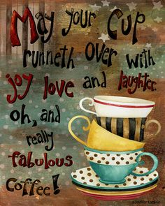 Art Print. May Your Cup Runneth Over. Tea Cups by studiopetite