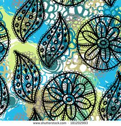Lace seamless pattern with flowers and leaves blue brown green. vector by EkaterinaP, via Shutterstock