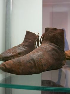 Pair of boots, 15th century, goatskin. The only complete pair found during the excavation at the castle Oberhaus in Passau, Germany. About a EU size 29/30.
