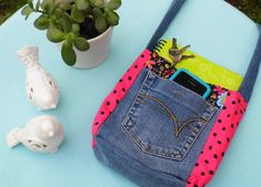 Hot Pink Polka Repurposed Jean Shoulder Bag by WingsintheWind, $35.00