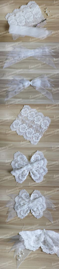 Surprise DIY: lace bows for barrette's and rubber bands