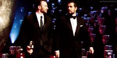 """""""Chris Evans and Henry Cavill walking on stage at the 2015 Baftas"""""""