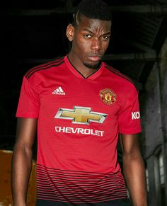 The latest Manchester United home jersey from adidas marks 140 years since the club was founded, with a train track graphic referencing United's original name; Newton Heath (Lancashire and Yorkshire Railway) Cricket and Football Club. Camisa Manchester United, Manchester United Football, Paul Pogba, Old Trafford, Champions League, Adidas Football, Football Soccer, Soccer Tips, Soccer Skills